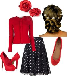 red cardigan with flower on shoulder, black polka dot skirt, skinny black belt, red pumps