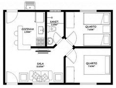 Planta De Casa Pequena Com 2 Quartos. Too big, but I like the way the three doors work together in the middle. It's a nice layout with good privacy. 2 Bedroom House Plans, Small House Plans, House Floor Plans, Garage Apartments, Small Apartments, Architecture Plan, Architecture Details, Small Floor Plans, Apartment Plans