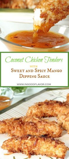 Coconut Chicken Tenders With Sweet And Spicy Mango Dipping Sauce – Gesundes Abendessen, Vegetarische Rezepte, Vegane Desserts, Chicken Thights Recipes, Chicken Sauce Recipes, Chicken Parmesan Recipes, Healthy Chicken Recipes, Turkey Recipes, Cooking Recipes, Mango Sauce For Chicken, Cooking Tips, Chicken Tender Recipes