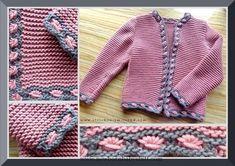 Knitting instructions for girls vest / Mädchenjanker Girls Knitted Dress, Knit Baby Dress, Baby Cardigan, Poncho Knitting Patterns, Crochet Cardigan Pattern, Crochet Patterns, Knitting For Kids, Easy Knitting, Baby Girl Sweaters