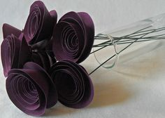 Paper Flower Bouquet Elegant Plum Purple Set of 8 by tyvm on Etsy, $16.50