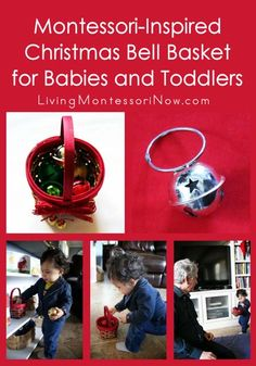 Very-simple-to-prepare Montessori-inspired DIY baby bell toy and Christmas bell treasure basket for babies and toddlers
