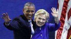 """Image copyright                  AP Image caption                                      Hillary Clinton apareció por sorpresa al concluir el discurso de Barack Obama en la Convención Nacional Demócrata de Filadelfia.                                """"No abucheen, ¡voten!"""". Fue la respuesta del presidente de Estados Unidos, Barack Obama, cuando el público que escuchaba su discurso empezó a gritar al oír el nombre de Donald Trump"""