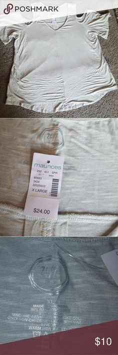 NWT Maurices Cold Shoulder Top Grayish blue cold shoulder shirt from Maurices. NWT! Bundle & save 20%!🛍  I do my very best to describe my items as they are shown. I inspect each item before posting to sell. I encourage interested buyers to please ask any questions and to utilize the zoom on photos to inspect before buying.    Also on ➡️Ⓜ️ Maurices Tops Tees - Short Sleeve
