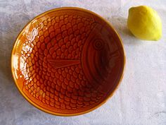 VintageFrench soup bowl majolica fish design Honey by ChiliChic