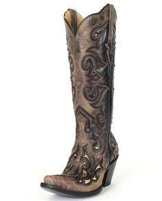 Corral Boots® Ladies' Tall Top Inlay Boots These stylish Corral® boots have a tall 15″ shaft with a scalloped top, pull straps, tan distressed overlay and ...