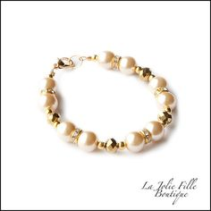 Champagne Glass Pearl Beads Bracelet Gold Metal for Child Flower Girl Wedding Gift Baby Newborn Toddler Infant Wire & Clasp Growth Chain by la jolie fille boutique, $7.00