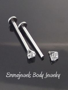 "Pair 16g 5/8"" 16mm CHEEK PIERCING STUD Jewelry Dimple Maker 3mm CZ Prong Set"