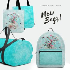 #mandala #bags #gym #sport #yoga #meditation #turquoise #backpack #floralbirds #birds #hummingbird #magnolia #tree #blooming #flowers #floral #design #home #interior #decor #decoration #fashion #bag #tote #duffle #travel #society6