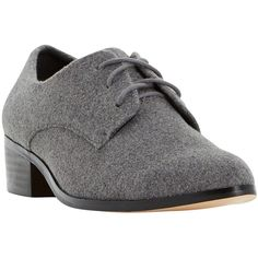 Dune Loris Pointed Brogues , Grey Fabric ($50) ❤ liked on Polyvore featuring shoes, oxfords, grey fabric, pointed flat shoes, grey oxfords, wingtip shoes, pointy toe shoes and pointed toe loafers