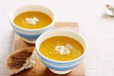 Pumpkin season is in full swing so make a big batch of our sweet-flavoured soup, then dress it up with dukkah for a warming dinner that Healthy Soup Vegetarian, Healthy Soup Recipes, Cooking Recipes, Easy Recipes, Roast Pumpkin Soup, Winter Soups, Food Tasting, Pumpkin Recipes, Dinners