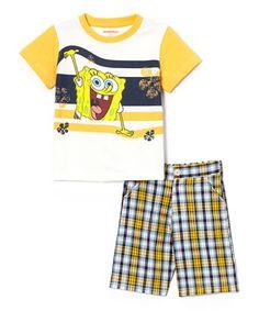 71afc0f59 SpongeBob Yellow Spongebob Tee & Plaid Shorts -Toddler & Boys by  SpongeBob #