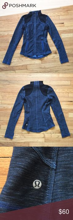 Lululemon navy/black workout jacket - sz 4 Lululemon navy/black long sleeve workout jacket - sz 4. Armpit to armpit - 16 inches. Length - 22.5 inches. Excellent condition. lululemon athletica Jackets & Coats