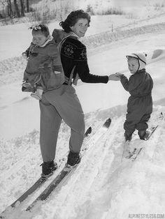 mother brownie glover ski children reno nevada mt rose vintage photo 1951