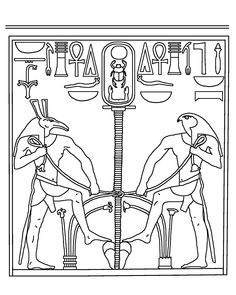 Set and Horus Uniting the Two Lands - 12th Dyn. Set =Upper Egypt, Horus the younger=Lower Egypt