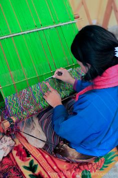 Bhutanese Woman Weaving a Kira