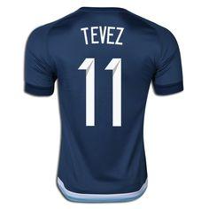 Carlos Tevez 11 2015 Copa America Argentina Away Soccer Jersey