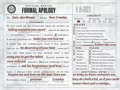 A Formal Apology from Crowley to Moose.