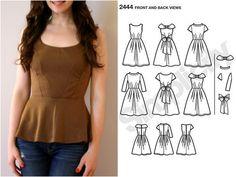 DIY how to make a peplum top from any dress pattern / PAP como fazer um top com folho a partir de qualquer molde de vestido