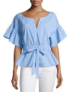 Vivian+Drawstring-Waist+Stretch-Poplin+Top+by+Milly+at+Neiman+Marcus.