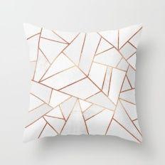 White Stone & Copper Lines Throw Pillow