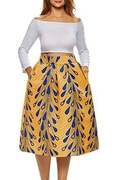 b799b6c51e Afibi African Print Skirts for Women Boho Plus Size Flare Pleated Skirts ( XXX-Large