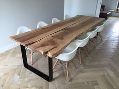 Large dining table made of two parts of Dutch elm from a trunk - . Large dining table made of two parts of Dutch elm from a trunk – Slab Table, Dining Room Table, Wood Tables, Grande Table A Manger, Home Furniture, Furniture Design, Dining Room Design, Home Furnishings, Interior Design