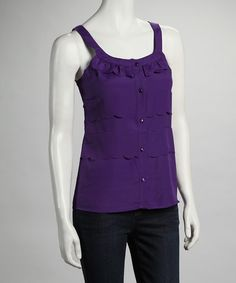 Take a look at this Purple Button Tank by Ruby Rose on #zulily today!