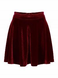 Burgundy High Waist Velvet Skater Skirt