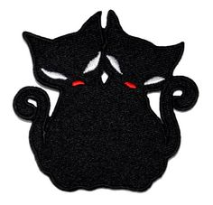 ~ BLACK PANTHER~ original FIREWORKS BLACK CAT IRON ON JACKET PATCH ~HALLOWEEN~
