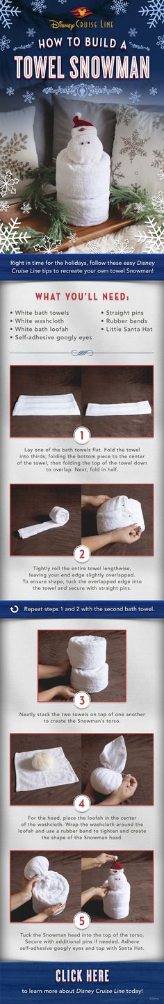 DIY Towel Snowman Tutorial from Disney Cruise Line!