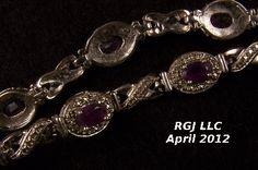 Sterling Silver Bracelet with Faceted Amethyst Gems