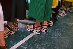 Platform velcro sandals backstage at Marni SS15 MFW. More images here: http://www.dazeddigital.com/fashion/article/21854/1/marni-ss15