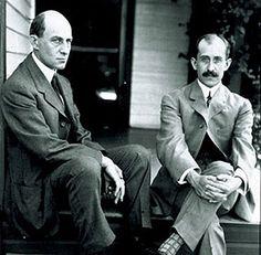 Wilbur and Orville Wright on porch at 7 Hawthorne Street, Dayton, Ohio.