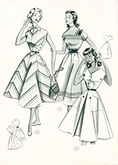 Vintage fashion from Make your own patterns and clothes, 1954 Fifties Fashion, 1930s Fashion, Retro Fashion, Vintage Fashion, Fifties Style, Vintage Style, Sewing Patterns Girls, Vintage Dress Patterns, Vintage Outfits