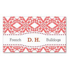 French Bulldog Business Cards with pattern in summerred