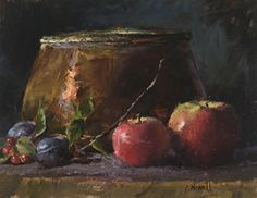 """Copper and Apples by Pamela C. Newell Oil ~ 11"""" x 14"""""""