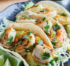 Shrimp and Corn Slaw Tacos with Jalapenos
