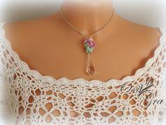 #oxigra #polymer clay #jewellerypolymerclay #jewellerydesign #kropla #kwiaty #flowers #naszyjnik #wisiorek