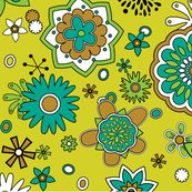 Atomic Flowers on yellow by pixeldust, click to purchase fabric