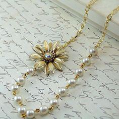 repurposing vintage jewelry   Asymmetric Necklace - Repurposed Vintage Jewelry #jewelrynecklaces