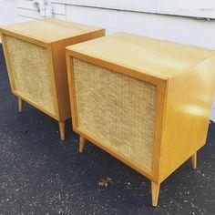 Mid-Century Modern Speakers Birch Wood Cabinets. by QueenCityMod