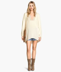 e6a91660c8b6 H M Tunika aus Crinklestoff 10,-. HemdblusenCollege-outfitsWeiße ShirtsBohemian  ModeModeideenProduktivitätGanzarmShirtsBlusen