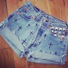Studded cross shorts<3 High waisted<3