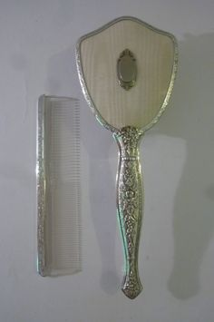 Vintage 2 Piece Comb and Brush Vanity Set Silverplate 100% Nylon Replaceable Bristle Brush Made in USA Dead Stock 1980s by ZoomVintage on Etsy