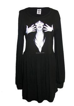 elvira gothic manicure bamboo dress