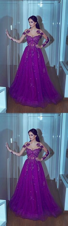 Purple Crew Long Sleeve Lace Appliques Prom Dresses, Lace Prom Dresses, A Line Prom Dresses, Cheap Party Dresses, Tulle Special Occasion Dresses M2607