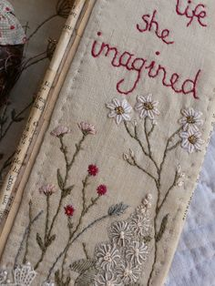 gentlework: She decided to start living the life she imagined Crewel Embroidery, Embroidery Applique, Cross Stitch Embroidery, Embroidery Patterns, Textiles, Fabric Journals, Art Textile, Fabric Art, Cross Stitching