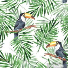 Tropical Toucan Fabric - Palm Leaves And Toucan By Gribanessa - Botanical Bird Tropical Jungle Cotton Fabric By The Yard With Spoonflower Motif Jungle, Jungle Pattern, Design Repeats, Tropical Birds, Wallpaper Roll, Deco, Royalty Free Images, Spoonflower, Printing On Fabric