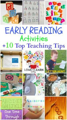 Early Reading Activities 10 Top Teaching Tips! {One Time Through} A great collection of new ideas for helping kids learn their ABCs, the sounds of the letters, and starting to understand the function of print. #teachingreading #lovetolearnlinky http://onetimethrough.com/early-reading-activities/